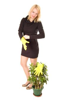 Free Young Woman Looking After Plant Stock Photo - 7815510