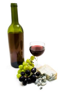 Wine Bottle With Cheese And Grapes Royalty Free Stock Photo