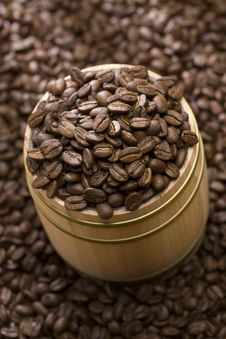 Free Coffee Bean On Oak Drum Stock Photo - 7817170