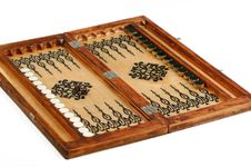 Wooden Handmade Backgammon Board With Chips Royalty Free Stock Images