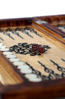Wooden Handmade Backgammon Board With Two Dices Royalty Free Stock Photography
