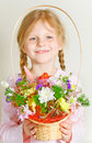 Free Small Girl With A Basket Of Flowers Royalty Free Stock Photos - 7823638