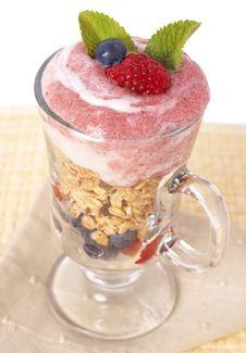 Healthy Breakfast With Muesli And Yoghurt Stock Image