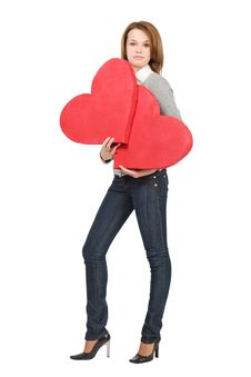 Free Pretty Model Girl Holding Two Hearts Stock Image - 7821281