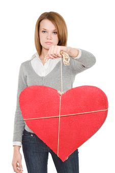 Free Pretty Girl Showing Bounded Heart Royalty Free Stock Photo - 7821415