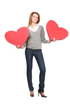 Free Pretty Girl Holding Two Hearts Stock Photo - 7821430