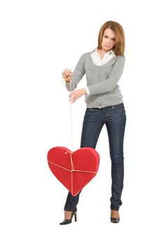Free Pretty Girl Holding Bounded Heart Royalty Free Stock Image - 7821466