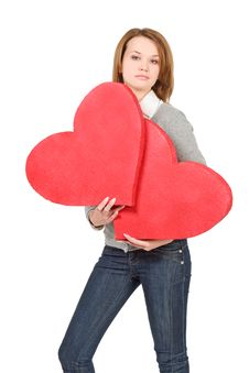 Free Model Girl Holding Two Hearts Royalty Free Stock Photos - 7821488