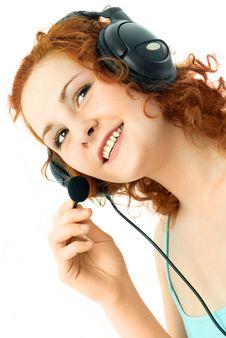 Beautiful Woman Wearing Earphones Stock Photo