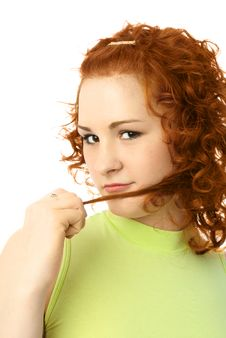 Free Beautiful Girl With Curly Ginger Hair Stock Photos - 7821933