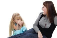 The Young Woman And  Girl Stock Image