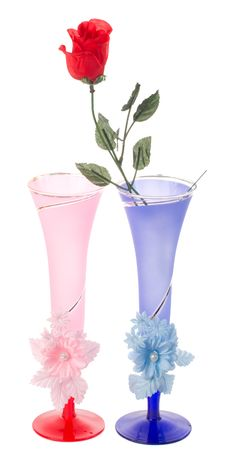 Free Two Wedding Flutes And Plastic Rose Stock Photos - 7822183