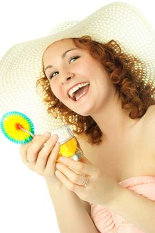 Woman On Vacation With Cocktail Royalty Free Stock Image