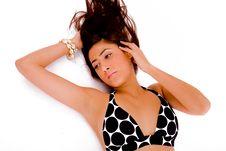 Top View Of Laying Female In Bikini Stock Photos