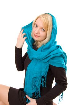 Lady In Blue Scarf Stock Photography