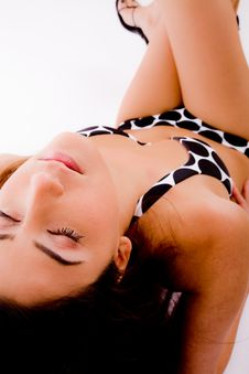 Top View Of Laying Summer Woman Royalty Free Stock Photos