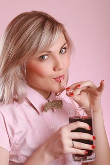 Free Attractive Young Woman Drinking Juice Stock Photos - 7822943