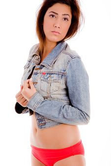 Free Young Woman Wearing Jacket And Underwear Royalty Free Stock Images - 7822949