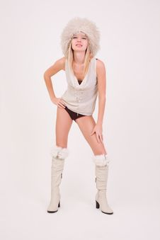 Free Sexy Girl In Furry Hat Royalty Free Stock Photography - 7823357