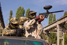 Free Paintball Players On The Car Stock Photos - 7823393