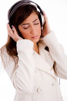 Free Portrait Of Young Female Enjoying Music Stock Photography - 7823662
