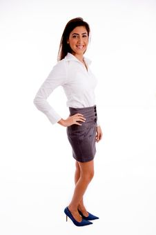 Side Pose Of Young Businesswoman Royalty Free Stock Images