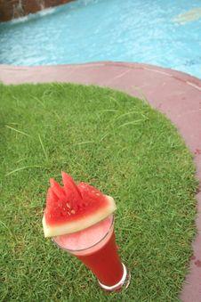 Watermelon Juice At Pool Stock Photos