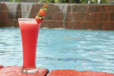 Strawberry Juice At Pool Stock Photo