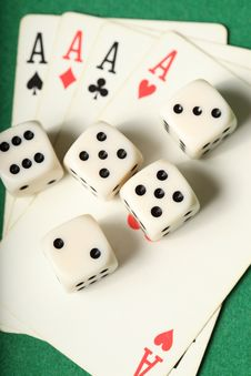 Free Cards Four Aces And Dice Portrait Royalty Free Stock Photo - 7825615