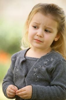 Free Blonde Little Girl In A Gray Sweater Royalty Free Stock Photography - 7827367