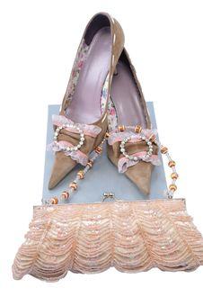 Handbag With Pair Woman Shoes Stock Photos