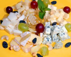 Versions Of Cheese With Honey And Fruit Royalty Free Stock Images