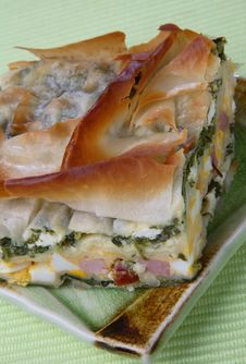 Baked Pie With Ham, Spinach And Boiled Eggs Royalty Free Stock Image