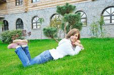 Girl Lie On Grass Stock Images