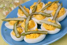 Boiled Eggs With Asparagus Stock Photography