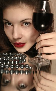 Glass Of Wine And Youth. Stock Photo