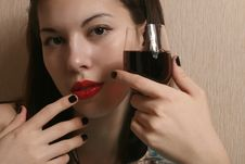 Lips And A Glass Of Wine. Royalty Free Stock Photography
