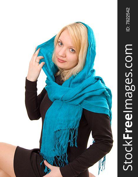 Lady in blue scarf