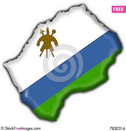 Lesotho button flag map shape Stock Photo