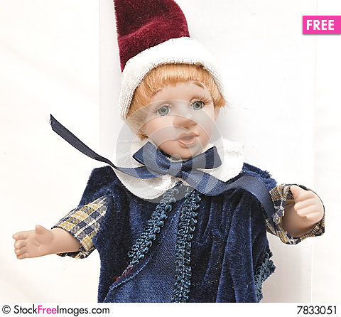 Detailed home made blonde hair porcelain Pinocchio Stock Photo
