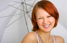 Free With A Smile Under An Umbrella Royalty Free Stock Photo - 7830175