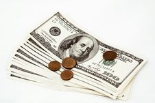 Free Hundred Dollar Bills And Coins Stock Photos - 7830523