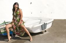 Free Woman In A Boat With Sun Stock Photography - 7831752