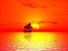 Red Sunset & Boat Royalty Free Stock Photo