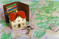 Free Miniature House On Map Royalty Free Stock Image - 7832266
