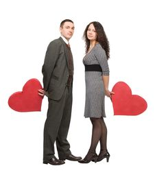 Free Loving Couple Holding Red Hearts Stock Photography - 7834102