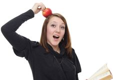 The Girl With The Book And An Apple Stock Image