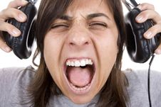 Free Teenager Shouting With Headphones Stock Photos - 7834303