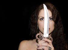 Free Portrait Of The Beautiful Woman With Knife Royalty Free Stock Photography - 7836137