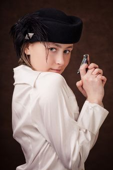 Free Young Girl Holding A Pistol In Hands Stock Image - 7836551